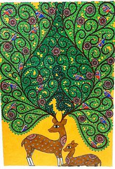 Madhubani on Behance Indian Artwork, Indian Folk Art, Indian Art Paintings, Mural Painting, Mural Art, Fabric Painting, Indian Traditional Paintings, Madhubani Art, Madhubani Painting