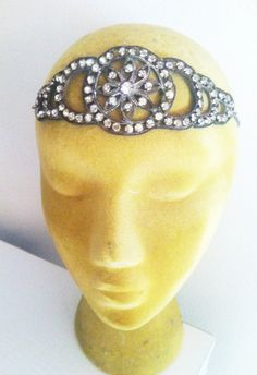 Vintage 20s Flapper Art Deco Headpiece Princess Floral Filigree Tiara Crown Rhinestone Paste Headband Bride Bridal Wedding Headpiece