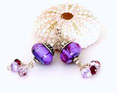 lavendar bead earrings | Bead Earrings. Violet Glass Bead Earrings. Lavender Dangle Earrings ...