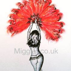 My Burlesque Queen Watercolour and Pastel Painting titled 'Little Miss Peachy' Prints available migglet.co.uk