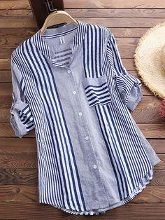 a222e7e89809 Patchwork Stripe Print Stand Collar Irregular Casual Shirts Cheap - NewChic  Mobile Bluser Til Kvinder