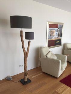 Rustieke dubbele vloerlamp van verweerd oud door GBHNatureArt
