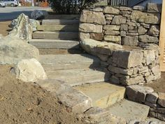Outdoor staircases. How to build natural stone, or rock, steps.