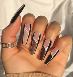 Brown Acrylic Nails, Bling Acrylic Nails, Best Acrylic Nails, Acrylic Nail Designs, Gel Nails, Coffin Nails, Long Nail Designs, Brown Nails, Fabulous Nails
