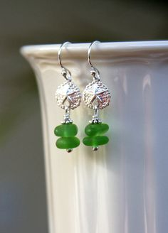 Sea glass earrings sea glass jewelry sterling by HollyMackDesigns