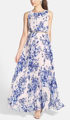 This stunning floral-print chiffon maxi dress would look so glam with sparkly chandelier earrings.