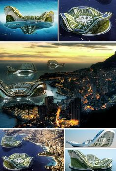 The Lilypad  is a self-sustaining city that can travel the world's oceans and rescue refugees from disasters and rising sea levels. They are powered  thermal, tidal, solar and wind energy and house up to a half-million people each.