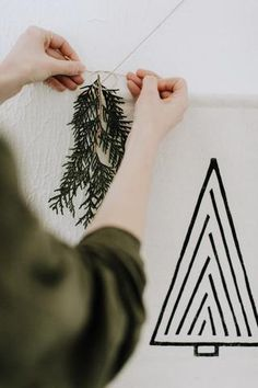 Canvas banner blockprinted with a modern tree design for a simple take on holiday decor. Hang this banner on any wall in your home or studio space to add a bit of simplistic holiday charm. Tie a piece