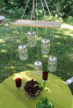 Mason Jar Lighting. Mason Jar Chandelier. Lots of mason jars available at The Dark Horse. www.darkhorsestudio.ca