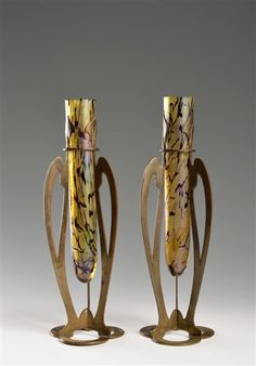 "A pair of art nouveau vases in armatures by Wilhelm Kralik Sohn (Co.) 1881-1936. Glass and Brass Vase. Height: 27cm (10.6"")"