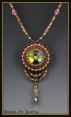 Beaded Beadwork Bead Embroidered Crystal by beadedartjewelry, $115.00