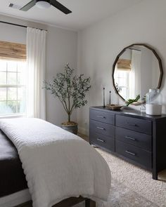 Neutral bedroom makeover with Bench*Made midtown dresser from Bassett furniture and faux olive tree Learn how to create a well designed bedroom by mixing and matching furniture pieces as I did in this bedroom makeover with Bassett Furniture. Room Ideas Bedroom, Home Decor Bedroom, Bed Room, Bedroom Designs, Furniture Design For Bedroom, White Bedroom Dark Furniture, Wall Colors For Bedroom, Lighting Ideas Bedroom, Long Bedroom Ideas
