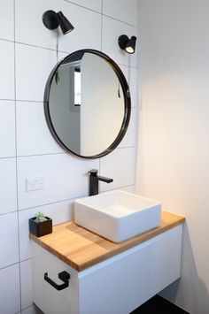 Bathroom Mirror Cabinets New Zealand ensuite, wooden tile, black tapware, bathroom deavoll construction