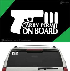 Carry Permit On Board Auto Decal Car Sticker Custom Car Decals, Custom Cars, Vinyl Decals, Man Rules, Advertising Tools, Branding Your Business, Car Stickers, Stoner, Tool Box