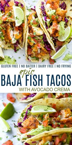 The Best Baja Fish Tacos loaded with cilantro lime slaw zesty Avocado Crema and fresh Pico de Gallo! These fish tacos are pan seared with a blackening spice no frying or batter required! The perfect healthy dinner recipe everyone in your family will love! Fish Tacos With Cabbage, Easy Fish Tacos, Fried Fish Tacos, Tilapia Fish Tacos, Healthy Fish Tacos, Battered Fish Tacos, Blackened Fish Tacos, Shrimp Tacos, Fish Taco Sauce