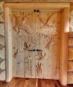 An image on imgfave Cool Doors, Unique Doors, Wooden Door Hangers, Wooden Doors, Wood Carving Designs, Metal Artwork, Types Of Doors, Deco Design, Custom Wood