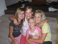 Flashback photo of teenage Witney Carson with her sister, Camry, and two of their cousins at the Lake House