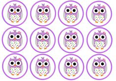 12 Purple Owl Edible Rice/Wafer Paper Cake/Cupcake Toppers