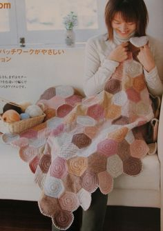 Crochet blanket from one color hexagons