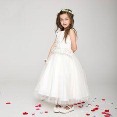 130.24$  Buy now - http://aliwn5.worldwells.pw/go.php?t=32610823405 - Girls Party Dress 2016 Ivory Elegant Baby Girl Princess Tutu Dress Long Frocks Dress For Age 2 3 4 5 6 7 8 9 10 11 12 Kids