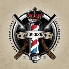 Logotipo do polo de barbeiro Vetor Premium