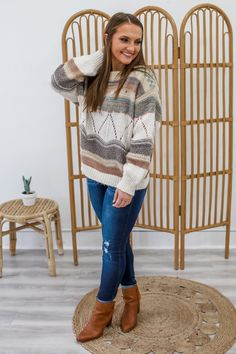Striped Grandpa Sweater - UOIOnline.com