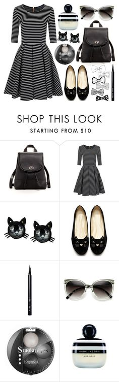 """""""Striped Kitty"""" by mo-de-17 ❤ liked on Polyvore featuring SUSU, French Connection, Betsey Johnson, Bobbi Brown Cosmetics, ZeroUV, Bourjois and Marc Jacobs"""
