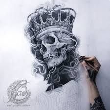Image result for skull and crown tattoo