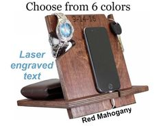 Mens Gift, Unique Graduation Gift For Him, Personalized Unique Mens Gift, Gift Ideas For Men, iPhone Holder, iPhone Dock, Phone Valet