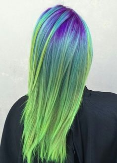 Purple green ombre dyed hair @ping_bot