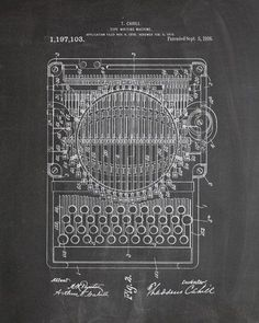 This is a print of a 1916 typewriter patent, presented as a vintage industrial or steampunk style drawing. Authentic historical patent prints celebrate industrial design and invention as art, and fit                                                                                                                                                                                  More