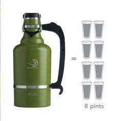 The Juggernaut - DrinkTanks® 128 oz Insulated Growler. It is cast from high quality 18/8 stainless steel, and has double wall vacuum insulation. The BPA free poly cap is secured by a sturdy double bail locking system that is leakproof and keeps contents cold for 24+ hours and hot for 12+ hours.  It's the perfect