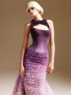 ombre corset versace gown