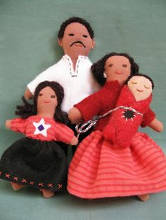 HISPANIC DOLL FAMILY multicultural doll miniatures by AntheaArt, $50.00