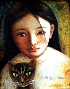 Girl with Cat Art Print by Shijun Munns. All prints are professionally printed, packaged, and shipped within 3 - 4 business days. Crazy Cat Lady, Crazy Cats, Illustrations, Illustration Art, She And Her Cat, Kitsch, Cat Art Print, Cat Drawing, Artist Art