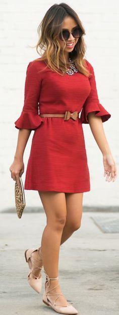 red dress @roressclothes closet ideas women fashion outfit clothing style