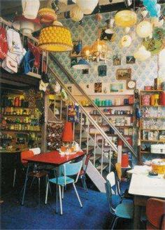 http://www.latei.net/  Latei (Zeedijk 143) Amsterdam combines eating and 2nd hand shopping