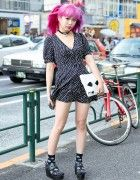 Harajuku Monster Girl w/ Pink Hair in Spiral Girl Dress & Spinns Platforms