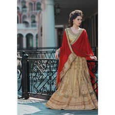 c2bcebec630480 Fabulous   Goergous Heavy Embroidery Designer Wedding   Engagement Chiku    Red Colored Net Lehenga Choli VCT 378 B - The Fashion Treasure