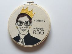 Notorious RBG  Inspired by the most badass of all U.S. Supreme Court Associate Justices, this hoop is a mix of Biggie and Ruth Bader Ginsburg. Embroidery floss and paint bring this hoop to life.  All Thread Honey hoop art is handmade by me with lots of love and care. If you would like this embroidery (or any other) in a different color, size, fabric etc., just let me know! Custom orders are always welcome.  This hoop is MADE TO ORDER.  Each hoop is handmade by me, and because of that please…