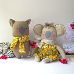 Wombat and Koala plush toys for a baby #wombat #koala #nursery #toys #kids #babytoy #softies #baby #australian