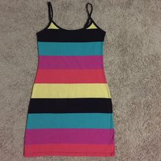 Derek Heart Multicolor Stripped Bodycon Dress Worn twice in good condition. 57% cotton 34% polyester 5% spandex. ✨Price is Firm unless is Bundle! Save $$$ when bundling with other items. NO TRADE Derek Heart Dresses Mini
