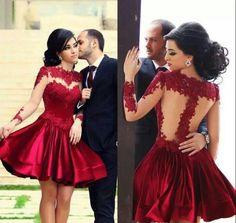 Burgundy Homecoming Dress,Long Sleeve Homecoming Dresses,Elegant Homecoming Dress,short prom Dress,PD00199