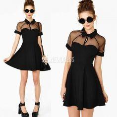 Summer short sleeve mesh splicing super cute slim dress $4.94
