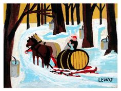 Black Sheep Gallery Maud Lewis captures the beauty and charm of rural Nova Scotia in her painting Maple Sugaring, which was done around Maud Lewis, Winter Art Projects, Naive Art, Canadian Artists, Sugar Art, Whimsical Art, Teaching Art, Elementary Art, Rug Hooking