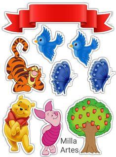 Topo de Bolo Pooh Baby, Winnie The Pooh Cake, Winnie The Pooh Birthday, Winnie The Pooh Friends, Disney Winnie The Pooh, Creative Lettering, Disney Scrapbook, Digi Stamps, Diy Birthday