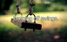 The little things... like jumping off swings ♡