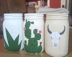 Desert Decor, Home Decor, Mason Jars, Rustic Home Decor, Boho Home Decor, Cactus Decor, Animal Skull Decor, Skull Decor, Skull Head Decor