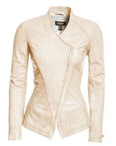 Understated and luxurious, this washed lamb leather jacket with burnished effect is ultra feminine. Slim fitting, it features a unique asymmetrical front closure that provides just the right amount of edge. A beautiful option to freshen up any Spring look.