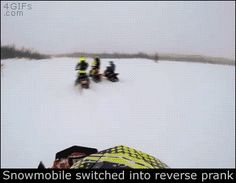 "Share this ""Snowmobile switched into reverse prank"" animated gif image with everyone. Gif4Share is best source of Funny GIFs, Cats GIFs, Dog GIFs to Share on social networks and chat."